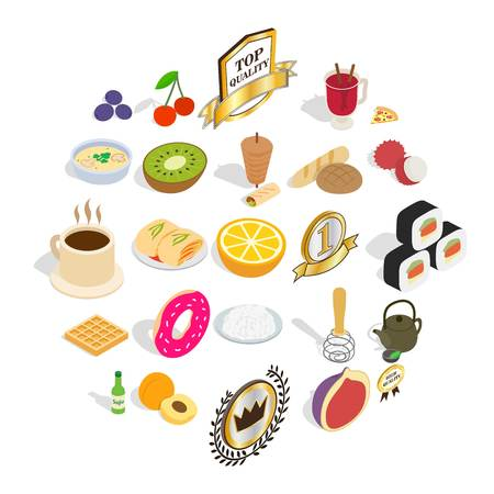 Tasty breakfast icons set. Isometric set of 25 tasty breakfast vector icons for web isolated on white background