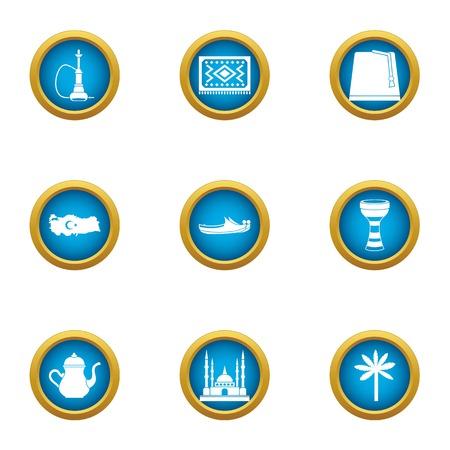 Mussulman icons set, flat style