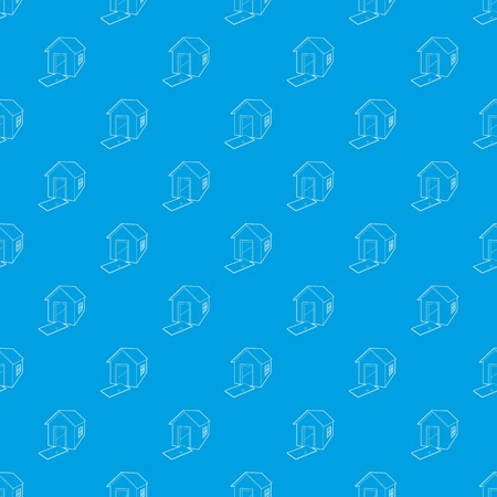 House destroyed pattern vector seamless blue Illustration