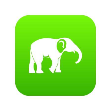 Elephant icon green vector