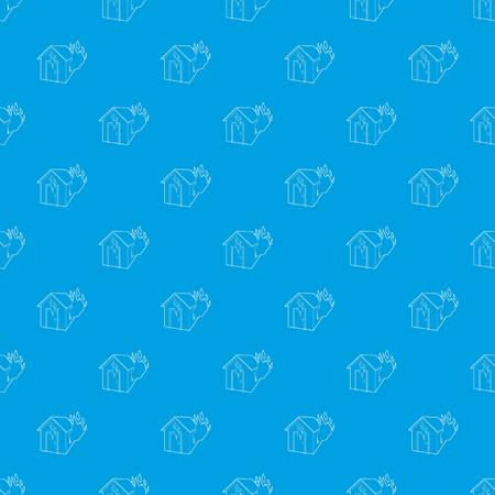 House on fire pattern vector seamless blue repeat for any use Illustration