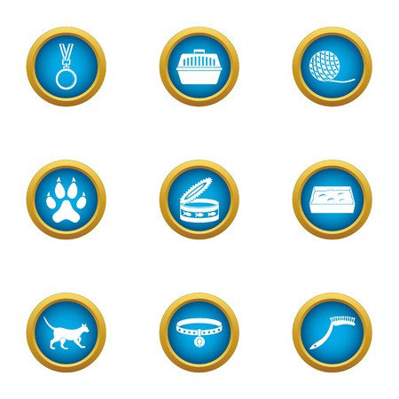 Animal award icons set, flat style