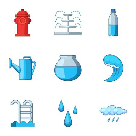 Water head icons set. Cartoon set of 9 water head vector icons for web isolated on white background