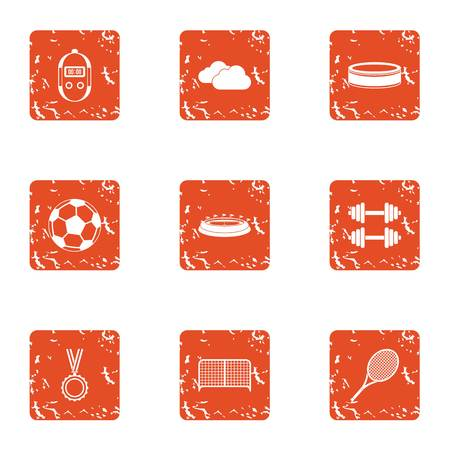 Sport centre icons set. Grunge set of 9 sport centre vector icons for web isolated on white background