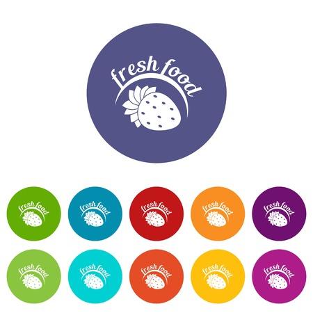 Farm fresh food icons set vector color Stock Illustratie