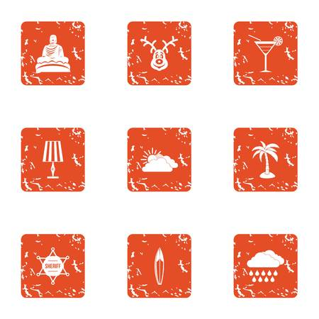 Tranquillity icons set. Grunge set of 9 tranquillity vector icons for web isolated on white background