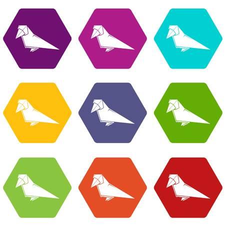 Origami bird icons set 9 vector