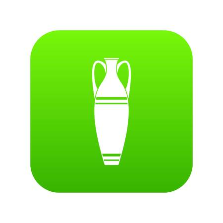 Vase icon green vector