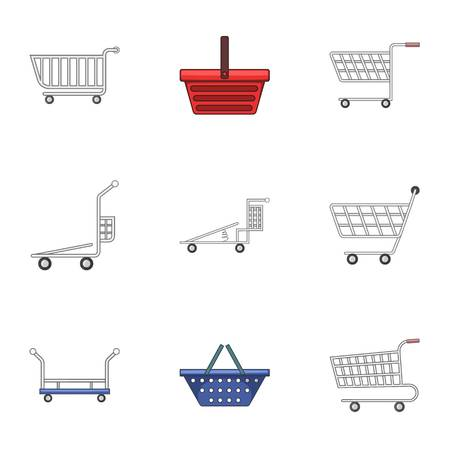 Wain icons set. Cartoon set of 9 wain vector icons for web isolated on white background