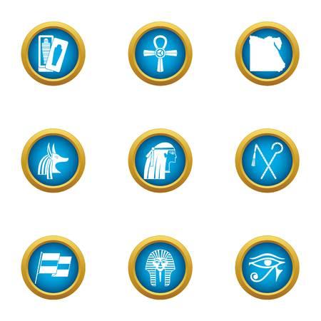Egypt style icons set. Flat set of 9 egypt style vector icons for web isolated on white background
