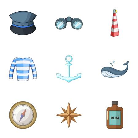 Pirate life icons set. Cartoon set of 9 pirate life vector icons for web isolated on white background