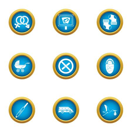 Ancestral icons set. Flat set of 9 ancestral vector icons for web isolated on white background 일러스트