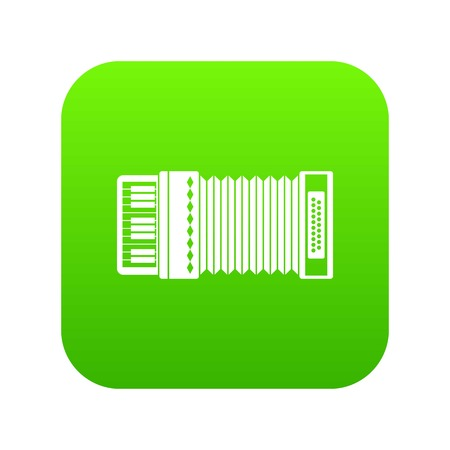 Accordion icon digital green for any design isolated on white vector illustration Çizim