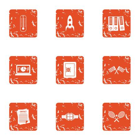 Platform icons set. Grunge set of 9 platform vector icons for web isolated on white background