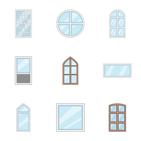 Window aperture icons set, cartoon style