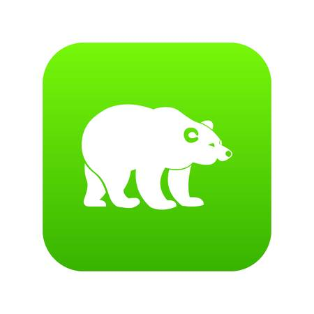 Bear icon digital green for any design isolated on white vector illustration Illustration