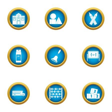 Instructional school icons set. Flat set of 9 instructional school vector icons for web isolated on white background