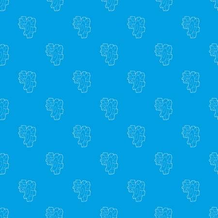 Cogwheels pattern vector seamless blue repeat for any use Illustration