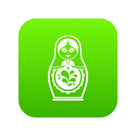 Matryoshka icon digital green for any design isolated on white vector illustration Banque d'images - 105613947