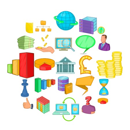 Investment of money icons set. Cartoon set of 25 investment of money vector icons for web isolated on white background