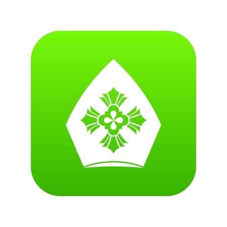 Christian hat icon digital green