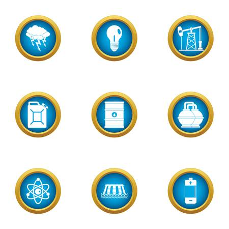 Nuclear science icons set, flat style