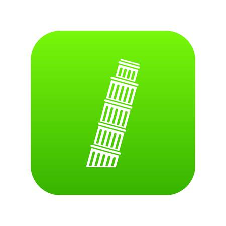Tower of pisa icon digital green Illustration