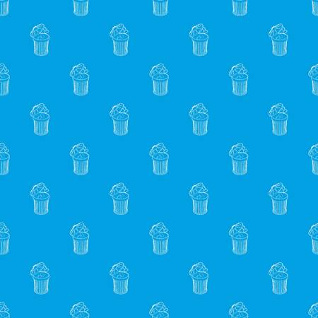 Resume thrown away in the trash can pattern vector seamless blue repeat for any use  イラスト・ベクター素材