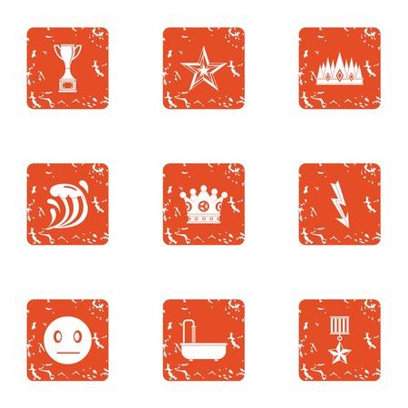 Dodge icons set, grunge style