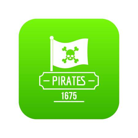 Pirate flag icon green vector