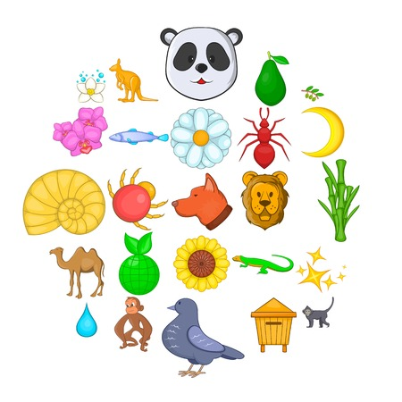 Conjunto de iconos de naturaleza virgen. Conjunto de dibujos animados de 25 iconos de vector de naturaleza virgen para web aislado sobre fondo blanco