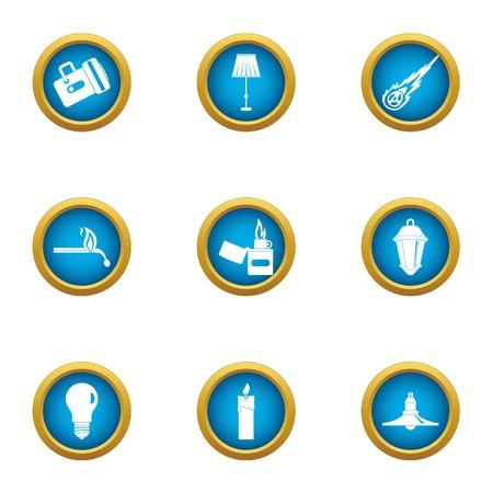 Light illumination icons set. Flat set of 9 light illumination vector icons for web isolated on white background