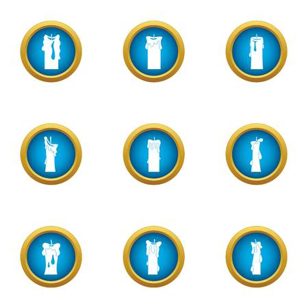 Candlestick icons set. Flat set of 9 candlestick vector icons for web isolated on white background