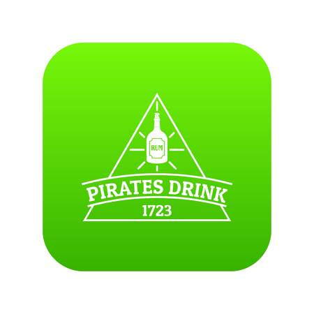 Pirate drink icon green vector Illustration