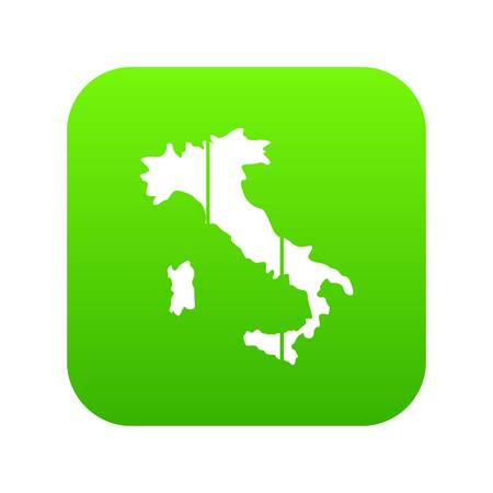 Map of Italy icon digital green