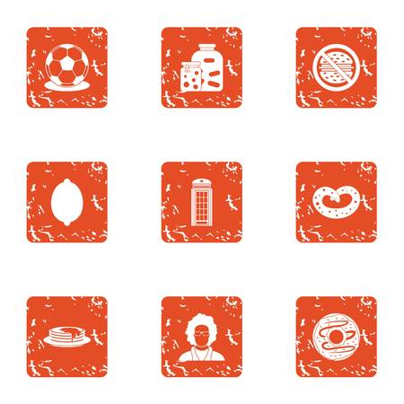 Tinned food icons set. Grunge set of 9 tinned food vector icons for web isolated on white background Çizim