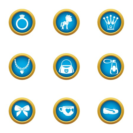 Favorite people icons set. Flat set of 9 favorite people vector icons for web isolated on white background Vectores