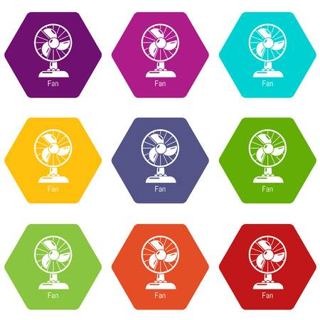 Fan icons 9 set coloful isolated on white for web Vetores