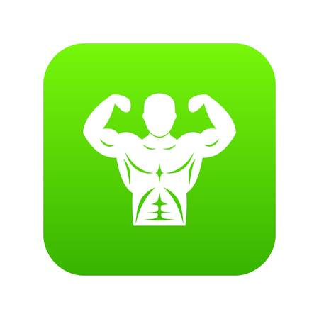 Athletic man torso icon digital green