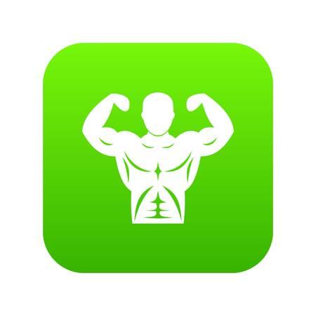 Athletic man torso icon digital green