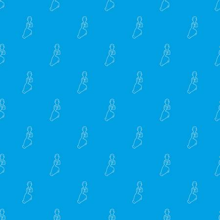Hand cursor pointing to a person pattern vector seamless blue repeat for any use Illustration
