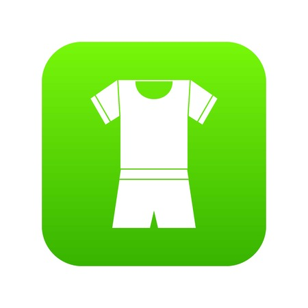 Sport shirt and shorts icon digital green for any design isolated on white vector illustration