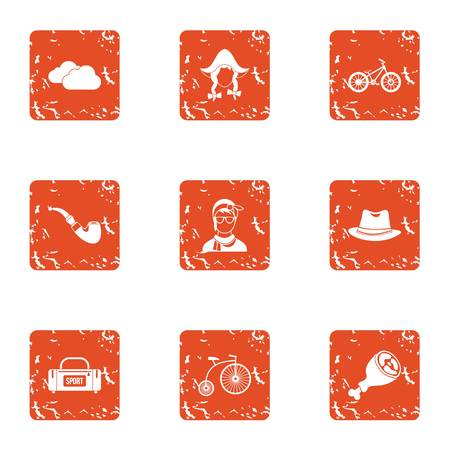 External icons set. Grunge set of 9 external vector icons for web isolated on white background