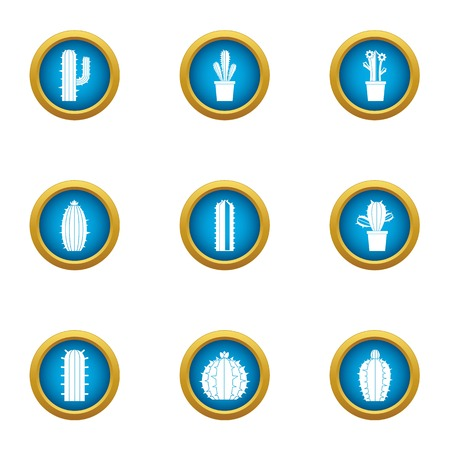 Prickly pear icons set. Flat set of 9 prickly pear vector icons for web isolated on white background