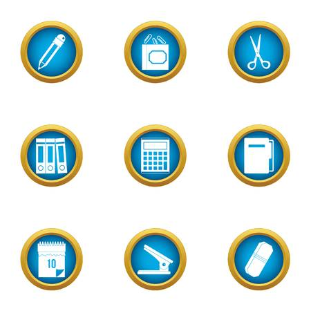 Work book icons set. Flat set of 9 work book vector icons for web isolated on white background  イラスト・ベクター素材