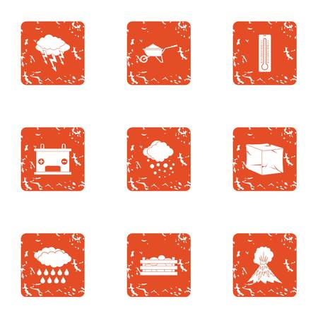 Explosion of volcano icons set. Grunge set of 9 explosion of volcano vector icons for web isolated on white background