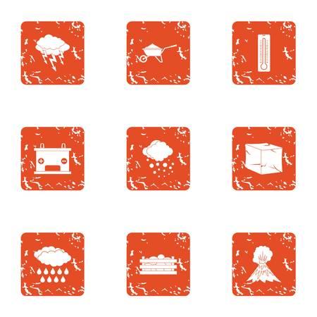 Explosion of volcano icons set. Grunge set of 9 explosion of volcano vector icons for web isolated on white background