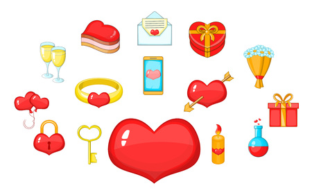 Fondness icons set. Cartoon set of 15 fondness vector icons for web isolated on white background 矢量图像
