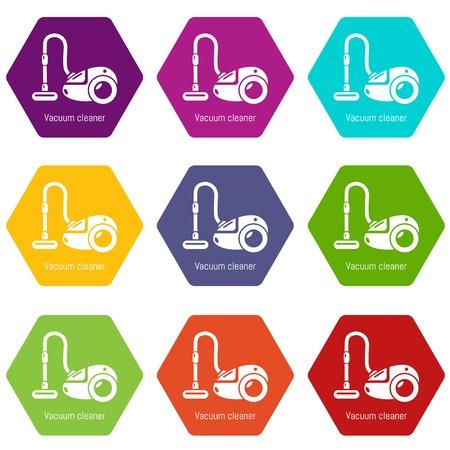 Vacuum cleaner icons set 9 vector Illustration