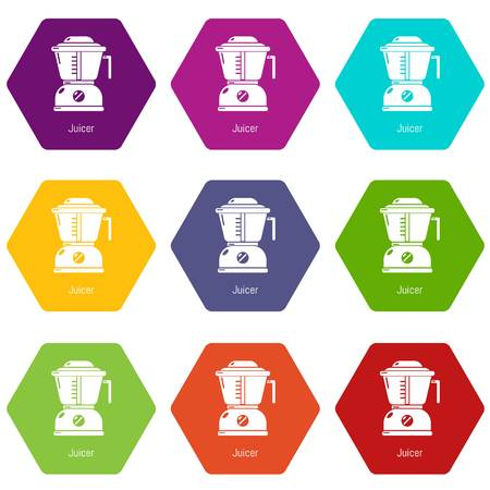 Juicer icons set 9 vector
